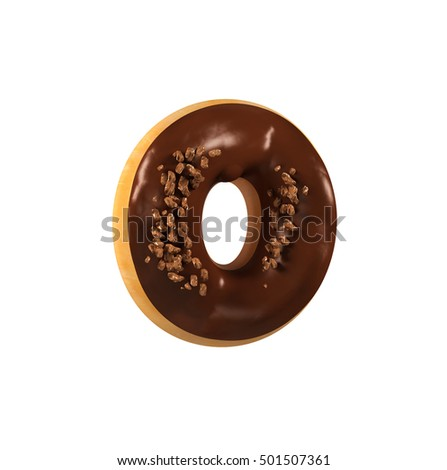 Chocolate Donut Font Concept. Delicious Letter O. 3d rendering isolated on white background
