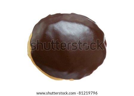 Chocolate Donut from Top View Isolated on a White Background - stock photo