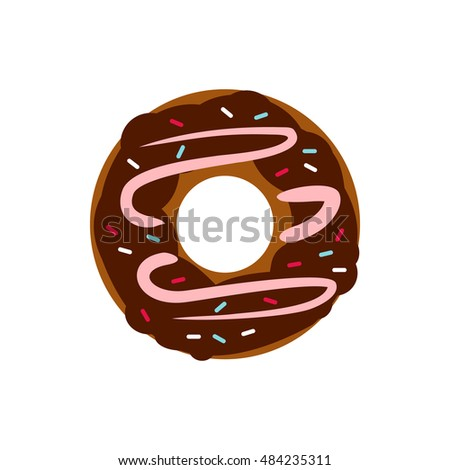 Chocolate donut icon in flat style on a white background
