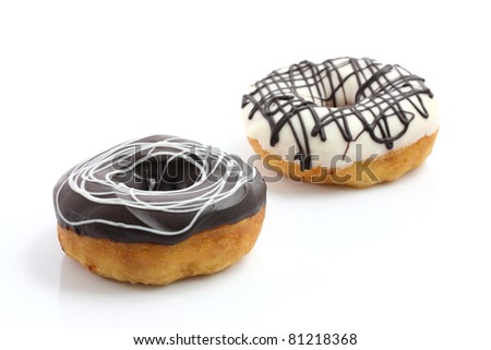 chocolate Donut isolated in white background - stock photo
