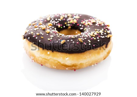 Chocolate donut isolated on white background - stock photo