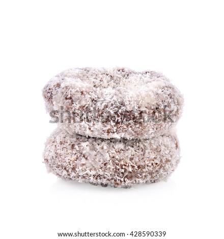 chocolate donut on white background - stock photo