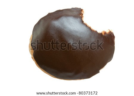 Chocolate Donut with Bite Eaten Isolated on a White Background