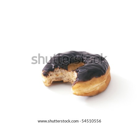 Chocolate Donut with bite taken out - stock photo