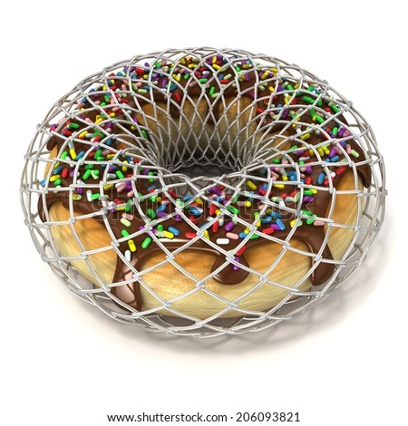 Chocolate donut with sprinkles in wire fence, as symbol of diet. Isolated on a white background  - stock photo