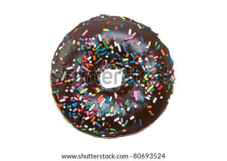 Chocolate Donut with Sprinkles Isolated on a White Background - stock photo