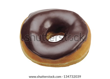 chocolate donuts isolated on a white background - stock photo