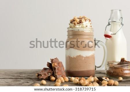 Chocolate drink with hazelnut - stock photo