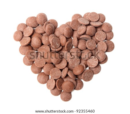 Chocolate drops in a heart shape on a white background - stock photo