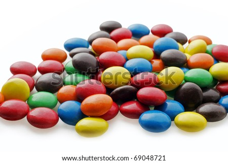 chocolate drops with bright color candy coating
