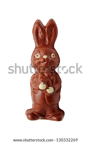 Chocolate Easter Bunny. Hand-made.  Isolated on white background - stock photo