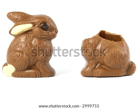 Chocolate Easter Bunny isolated on white background - stock photo