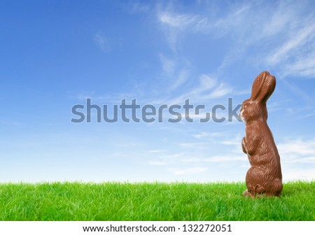 Chocolate easter bunny on a green meadow over a bright spring sky. - stock photo