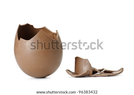 chocolate easter egg broken with pieces, isolated on white