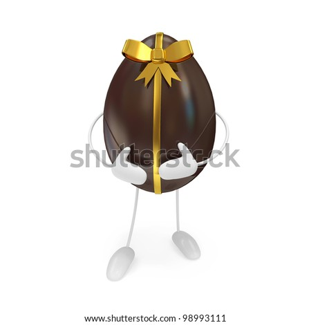 Chocolate Easter Egg Personage isolated on white background