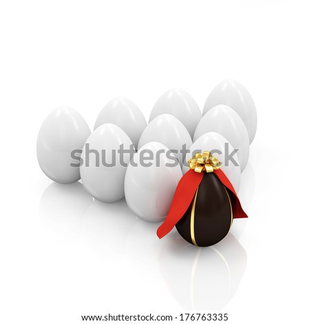 Chocolate Easter Egg Superhero stand from the others over white background