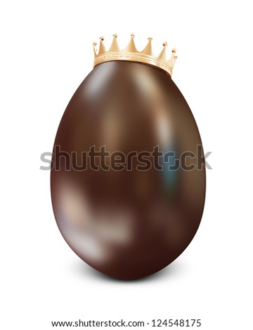 Chocolate Easter Egg with Golden Crown isolated on white background