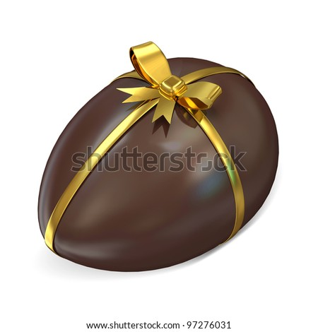 Chocolate Easter Egg with Golden Ribbon and Bow isolated on white background