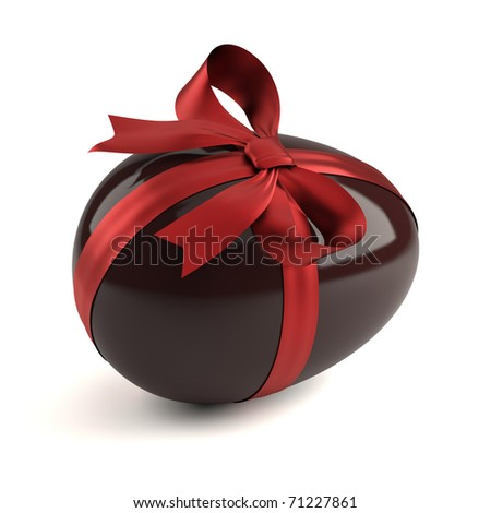 chocolate easter egg with red ribbon