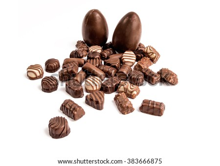 Chocolate Easter eggs and chocolate, on  white background