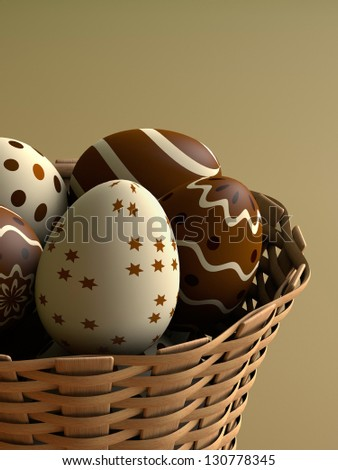 Chocolate easter eggs in a basket (3D render)