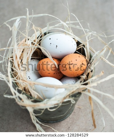 Chocolate Easter Eggs in tin bucket - stock photo