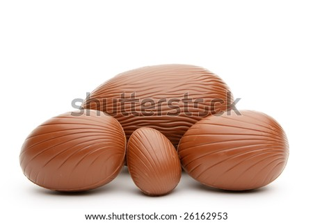 Chocolate easter eggs on isolated white - stock photo