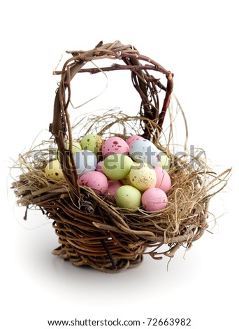 Chocolate easter eggs on white isolated background - stock photo
