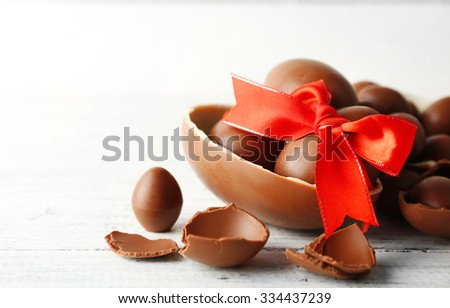 Chocolate Easter eggs on white wooden background - stock photo
