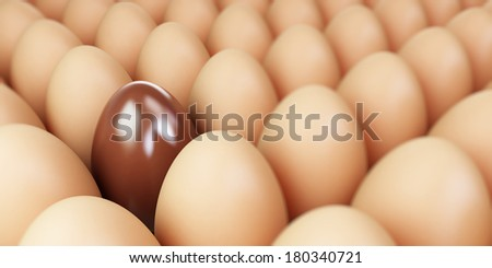 chocolate egg and egg row - Easter illustration - stock photo