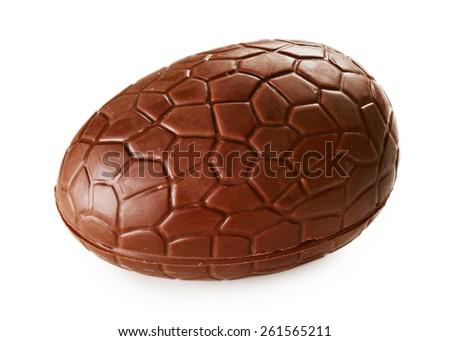 Chocolate egg isolated on white - stock photo