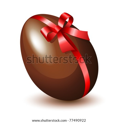 Chocolate egg with a red bow