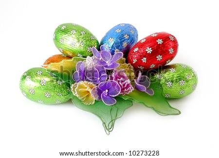 Chocolate eggs. - stock photo