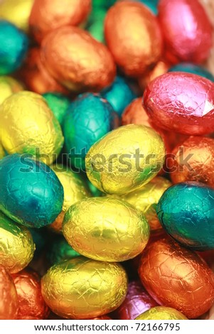 Chocolate Eggs A Traditional Easter Sweet. - stock photo
