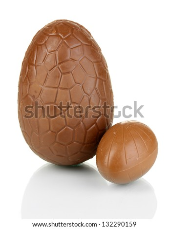Chocolate eggs isolated on white - stock photo