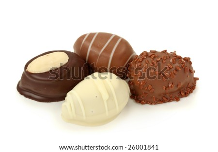 Chocolate eggs isolated on white background