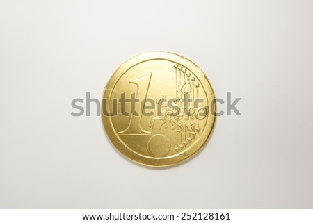 chocolate euro coin with golden wrap