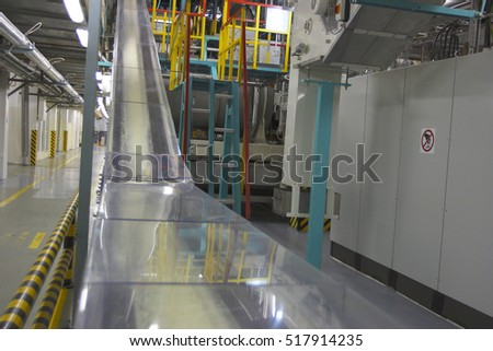 Chocolate factory production equipment in workshop