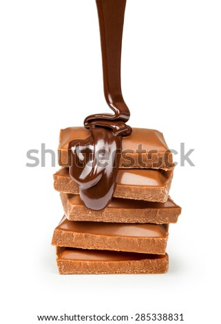 Chocolate flow isolated on white background close up