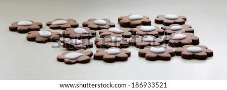 Chocolate flower cookies - stock photo