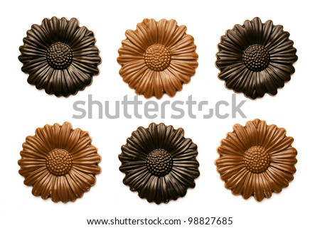 Chocolate flowers isolated on white