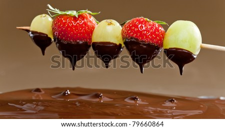 chocolate fondue - stock photo