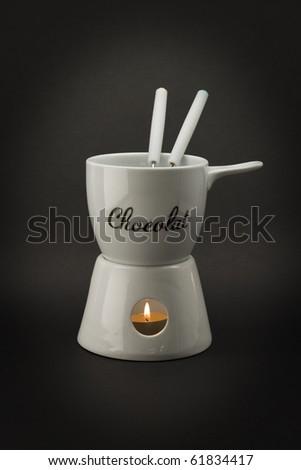 Chocolate fondue set - stock photo