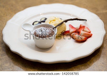 chocolate fondue sweet dessert - stock photo