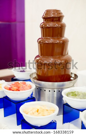Chocolate fondue with fresh fruits - stock photo