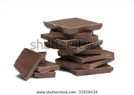 Chocolate for baking on white background