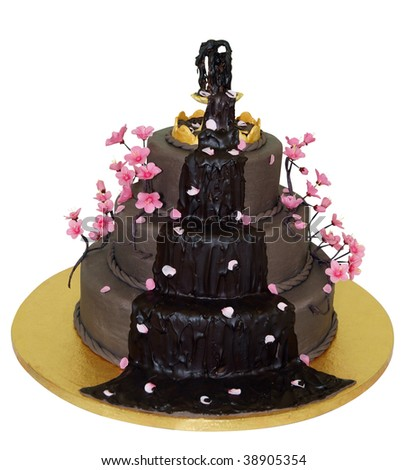Chocolate Fountain Iced Cake isolated with clipping path - stock photo