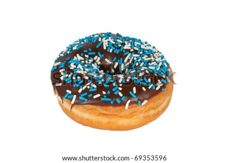 Chocolate Frosted Donut with Sprinkles Isolated on White Background - stock photo