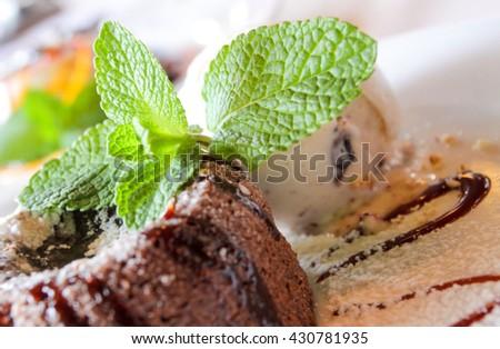 chocolate fudge brownie icecream - stock photo