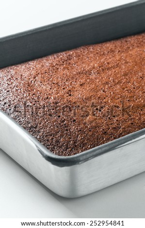 Chocolate fudge brownie pan in a high key light